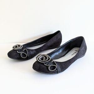 Fergalicious Black Zipper Embellished Ballet Flats